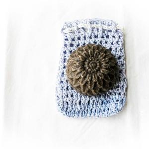 Seifensäckchen rechteckig blau gross mit Seife Naturkosmetik Naturtante