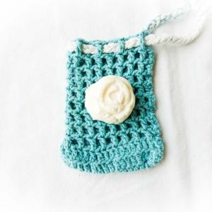 Seifensäckchen rechteckig klein blau mit Seife Naturkosmetik Naturtante
